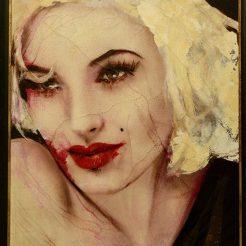 Lita Cabellut, Marilyn 12, 2012, Mixed media on canvas, 150 × 130 cm