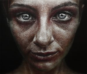 HAN YOUNG WOOK, Face, 2013, Oil and Scratches on Aluminium - 139 × 162 × 3.5 cm