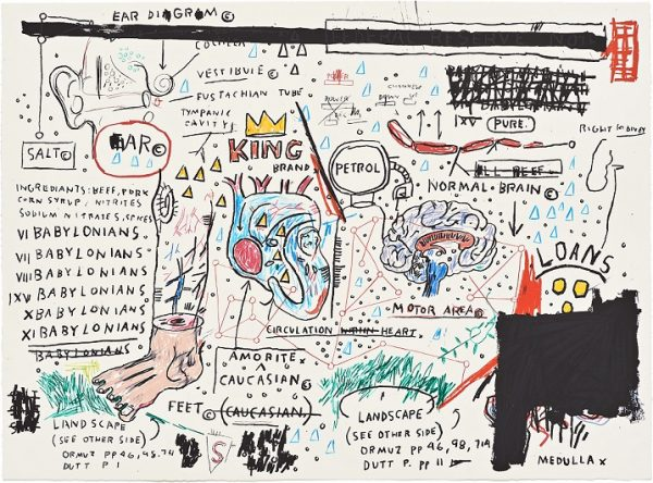 Jean Michel Basquiat, WolfSausage, KingBrand, DogLegStudy, UndiscoveredGenius, 1982-83, 2019, Portfolio of four hand-pulled limilted edition screenprints, 22 x 30 in, Ed of 5 (3)